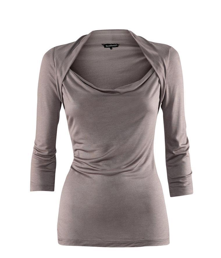 Compre Modal De Tres Cuartos De Cuello Del Abrigo Del Hombro Que Toca Abajo  Las Blusas De Las Señoras es Envío Libre A $384.0 Del Latiendachina | ...