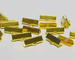 Wholesale End Tip Bead Caps - 300pcs Gold Plated Ribbon Necklace Cord Crimp Ends Over Clip Clamps Tips Beads Cap 13-16mm free shipping