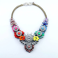 Wholesale Statement Bubble Necklace Flowers - New Fashion luxury lulu frost necklace Statement Bubble Necklace High quality Colorful Flower Crystal Pendant Necklace