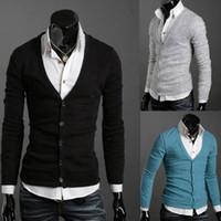 weihnachts-cardigan-männer groihandel-New Hot Winter Pullover Mode für Männer Pullover Langarm Herren V-Ausschnitt Cardigan Pullover Strickwaren Weihnachtsgeschenk M47