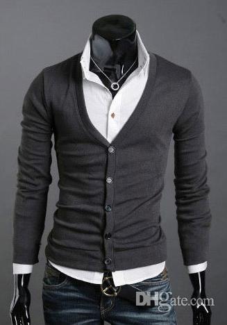V-cuello de la manga del nuevo de la manera de los hombres de invierno suéteres suéteres larga de los hombres de Cardigan suéteres de los géneros de punto de Navidad M47 regalo