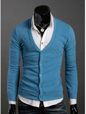 新しい冬のセーターファッション男性のセーター長袖メンズVネックカーディガンセーターニットクリスマスギフトM47