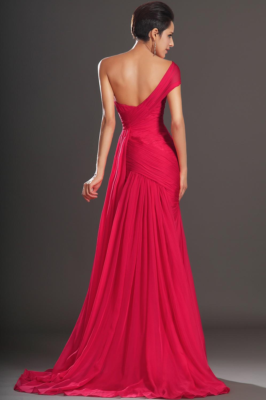 Diseñador sexy sirena de un hombro vestidos de noche barrido tren gasa roja vestidos de noche formales hinchados baratos vestidos de baile envío gratis