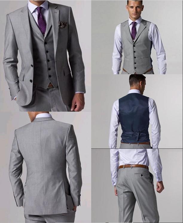 Custom Made Slim Fit Groom Tuxedos Light Grey Side Slit Best man Suit Wedding Groomsman/Men Suits Bridegroom Jacket+Pants+Tie+Vest J156