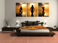 Wholesale Nude Ship Girls - handpainted 3 piece abstract oil painting on canvas wall art nude girls pictures for bedroom as unique gift free shipping