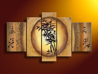 Wholesale Modern Abstract Oil Paintings Bamboo - handpainted 5 piece modern abstract Chinese bamboo picture oil painting on canvas wall art for home decoration free shipping