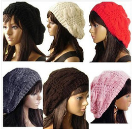 Wholesale Wholesale Ladies Purple Hats - New Arrivals Lady Winter Warm Knitted Crochet Slouch Baggy Beret Beanie Hat Cap