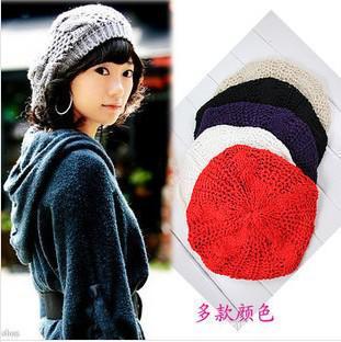 Wholesale  -  10個+新着レディースウィンターウォームニットかぎ針編み帽子バッグギーベレー帽帽子キャップ