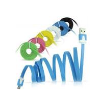 cabo usb cabo de macarrão colorido venda por atacado-Mais barato promoção 3ft universal micro 5pin usb flat colorido macarrão cabo de dados de sincronização adaptador de cabo para htc samsung galaxy s3 blackberry