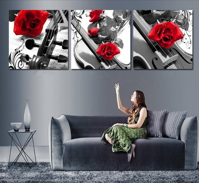 2018 handmade black white red wall art oil paintings on canvas large flowers pictures for bedroom as unique gift purple rose from carefreeshopping