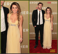 Wholesale Miley Red Carpet - Miley Cyrus 2015 Yellow Evening Dresses Asymmetrical Sexy V Neck A-line Ruffles Beaded Red Carpet Celebrity Dresses Prom Formal Party Gowns