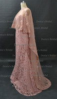 Wholesale Cape Lace High Collar - Blush Janique Mermaid Evening Dresses Sweetheart Neckline Beaded With Detachable Sheer Lace Appliqued Tulle Cape
