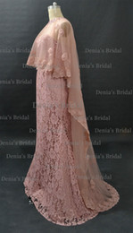 Wholesale Royal Taffeta - Blush Janique Mermaid Evening Dresses Sweetheart Neckline Beaded With Detachable Sheer Lace Appliqued Tulle Cape