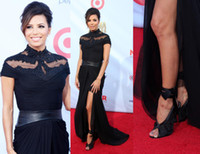 Wholesale Eva Gowns - Black Short Sleeve Red Carpet High Side Slit Celebrity Dresses Inspired by Eva Longoria with many pretty beaded chiffon formal evening gowns