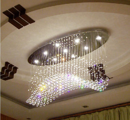 Wholesale Office Curtain - Free shipping oval curtain wave modern chandeliers crystal lamp living room lamp hotel lighting size:L750*W250*H650mm