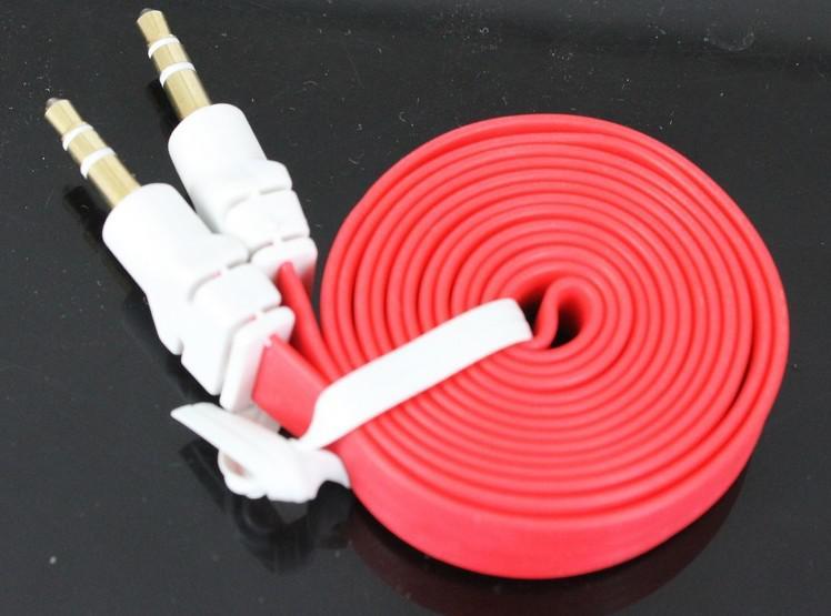 3.5mm AUX cable auxiliar de audio plana fideos macho a macho Cable estéreo colorido