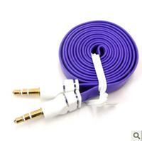 Wholesale flat noodle cable online - 3 mm AUX AUXILIARY audio CABLE flat Noodle Male to Male Stereo Cable colorful