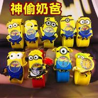 Wholesale Despicable Dhl - 2015 Despicable Me Cartoon little yellow men children Slap Snap Watch Precious Milk Dad patted silicone watches for boys girls DHL free