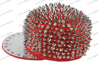 Wholesale Spike Rivet Snapback Cap - LLFA3402 New Silver Spike Rivet Snapback Stud Hedgehog Punk Rock Studded Baseball Hip-hop Hat Cap Christmas Gift
