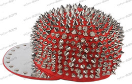 Wholesale Spike Baseball Hats - LLFA3402 New Silver Spike Rivet Snapback Stud Hedgehog Punk Rock Studded Baseball Hip-hop Hat Cap Christmas Gift