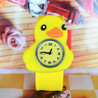 Wholesale Animal Snap Slap Wrist Watches - Hot Sale Christmas Gift lot 50pcs Children Boys Girls Cute Animal Little Yellow Duck Slap Snap Rubber Bracelet Wrist Watch DHL free ship