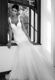 Wholesale Popular Tulle Wedding Dress - Popular spaghetti straps mermaid sweep train castle appliques soft tulle wedding dresses sleeveless hot selling sexy bridal gowns