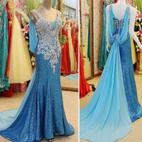 Wholesale Sparkling Party Dresses - Real Photos 2015 Sparkling Beaded Crystal Sheath V Neckline Party Prom Dresses Pageant Gowns With Sweep Train Xi019