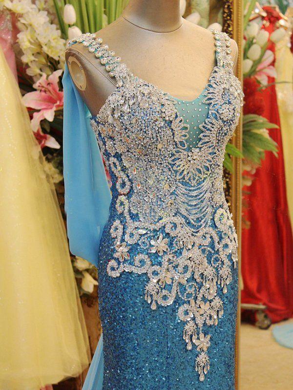 Fotos reales 2019 chispeante con cuentas de cristal Vestidos de escote fiesta Vestidos de fiesta de fiesta de fiesta con trenes de barrido XI019