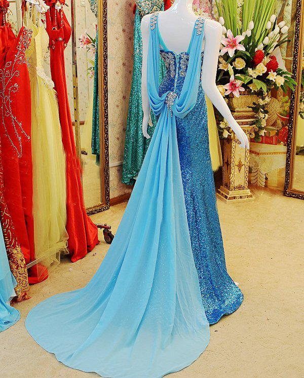 Real Photos 2019 Sparkling Beaded Crystal Sheath V Neckline Party Prom Dresses Pageant Gowns With Sweep Train Xi019