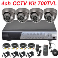 Wholesale 4ch Full D1 Dvr - Free shipping cctv system 4ch cctv kit sony 700TVL cctv security surveillance indoor dome zoom lens camera 4CH full D1 HD DVR video recorder