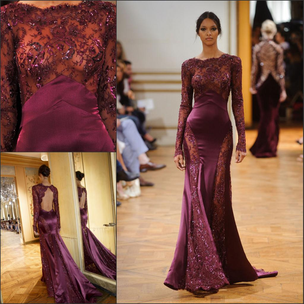 New Zuhair Murad Evening Gown Dark Purple Lace Fitting Mermaid ...
