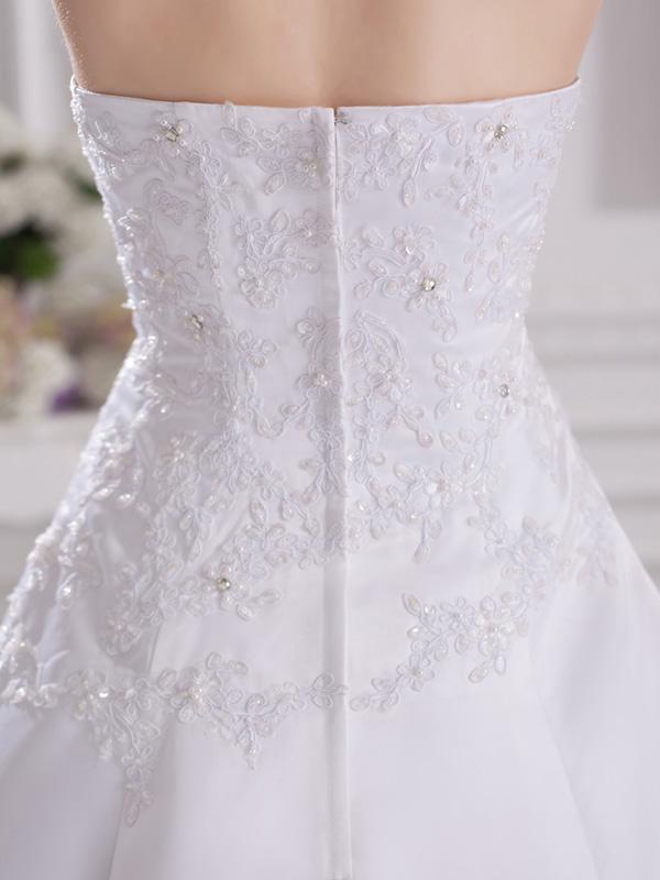 高品質の幻想的な白いサテン恋人の恋人の列車のアップリケビーズセレブサテンのウェディングドレスイブニングドレス