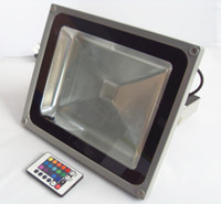 ac uzaktan kumanda toptan satış-50 W RGB LED Sel Projektör Işıkları AC 85-265 V Açık Su Geçirmez IP65 Aydınlatma Projektör 16 Renk Değiştirme Lambası + 24 Keys Uzaktan Kumanda