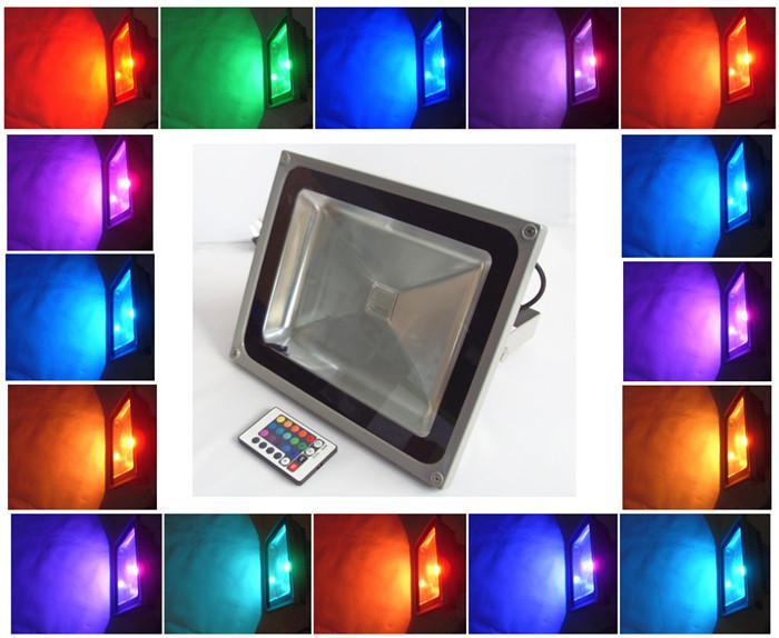 50W RGB LED Flood Projector Lights AC 85-265V Outdoor Waterproof IP65 Lighting Floodlight Changing Lamp + 24 Keys Remote Controller