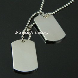 Wholesale Men Necklace Military - 316L Stainless Steel Double Dog Tags Pendant Necklace For Man Fashion Military Dog Tags Free Shipping