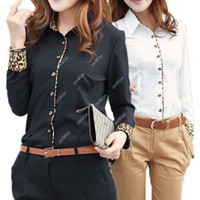 Wholesale S5Q Black White Cotton Long Sleeve Office Lady Business Leopard Blouse AAACPG