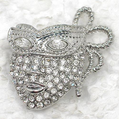 12pcs/lot Wholesale Clear Marquise Crystal Rhinestone Mask Brooches Fashion Costume Pin Brooch jewelry gift C575
