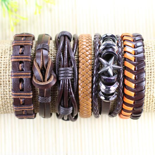 Wholesale Handmade 6Pcs/lot Men Women Alloy Bangles For Men And Women Braided Rope Wristband Cuff Leather Bracelet Adjustable D98