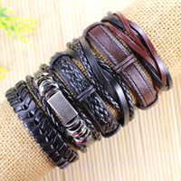 Wholesale celtic tribal - Free shipping wholesale (6pcs lot) cool mental bangles ethnic tribal genuine adjustable leather bracelet for men-L22