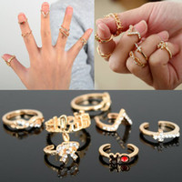 Wholesale Gold Finger Tip Nail Ring - 7Pcs Set Infinity Bowknot Cross Nail Knuckle Band Ring Mid Finger Tip Stacking Rings Gifts Free [JR15076*10]