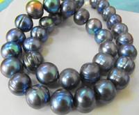 perles noires bleues achat en gros de-NOUVELLE BIJOU DE PERLE RARE TAHITIAN 12-13MMSOUTH MER NOIR BLEU COLLIER DE PERLE 19 pouces 14K
