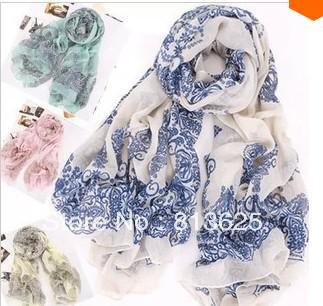 Großverkauf - Art und Weise der Frauen Frühling Herbst toten Blauen und weißer Porzellan Druck Schal Wraps