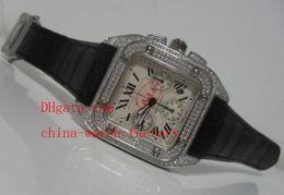 Wholesale Diamond Factory Supplier Watch - Factory Supplier AAA HTop Quality Wristwatch Luxury SAN0TS XL 100 Full Diamond Swiss Eta 7750 Chronograph Working Mens Watch Men's Watches