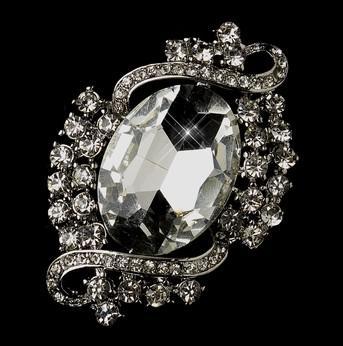 Rhodium Silber klar Strass Kristall Diamante Vintage Braut Brosche Pins