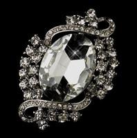 Wholesale Diamante Clear Rhinestone - Rhodium Silver Clear Rhinestone Crystal Diamante Vintage Bridal Brooch Pins