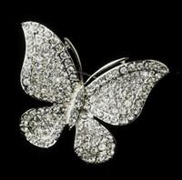 Wholesale Bridal Butterfly Brooch - Rhodium Silver Clear Rhinestone Pretty Butterfly Bridal Wedding Pin Brooch