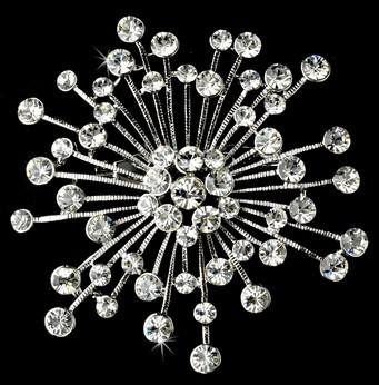 Rhodium Silver beautiful clear crystal brooch encrusted with dozens of sparkling crystals
