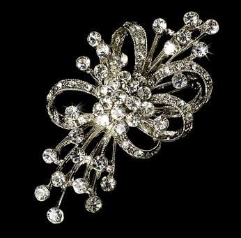 Rhodium Silver Plated Elegant Rhinestone Vintage Bridal Bouquet Brosch