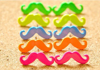 Wholesale Earrings Studs Moustache - 10%off!2015 new jewelry npunk candy color fluorescent earrings moustache stud earrings multicolor earring jewelry wholesale.12pars 24pcs.PM