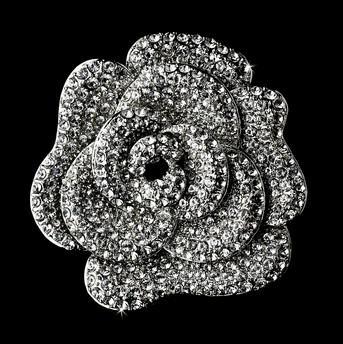 Elegant Sparkly Full Rhinestone Crystal Diamante Wedding bridal Large Rose Flower Brooch Pin Party prom Gift Accessory